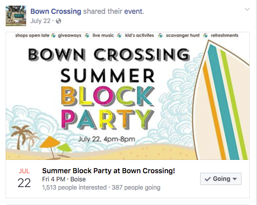 Bown Crossing Block Party - Facebook Event