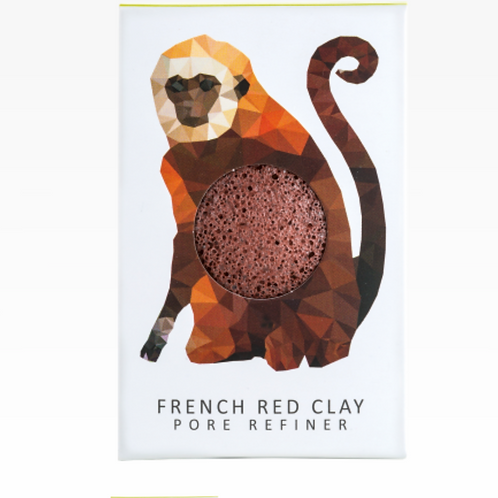 KONJAC MINI PORE REFINER RAINFOREST MONKEY | FRENCH RED CLAY