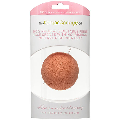 KONJAC FACIAL PUFF SPONGE WITH PINK FRENCH CLAY