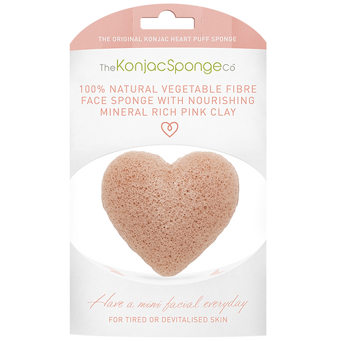 KONJAC HEART SPONGE WITH PINK FRENCH CLAY | FRENCH PINK CLAY