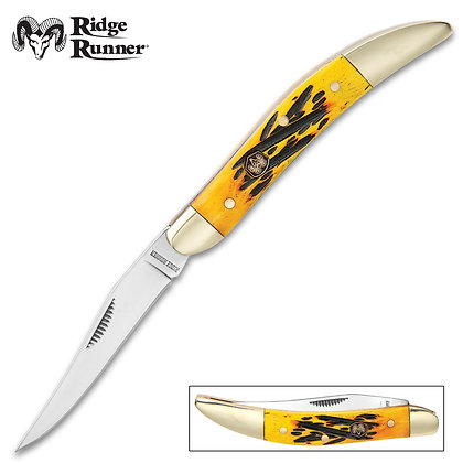 Yellow Bone Tooth Pick Pocket Knife