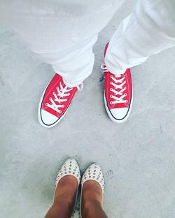 Shoe game!! 👠💫👞 #aboutlastnight #houseofblues ##chucktaylors #studdedtoe #heels #shoegame #husban