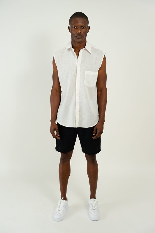 SLEEVELESS LINEN BUTTON DOWN SHIRT | WHITE