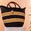 Black striped Large straw basket for home