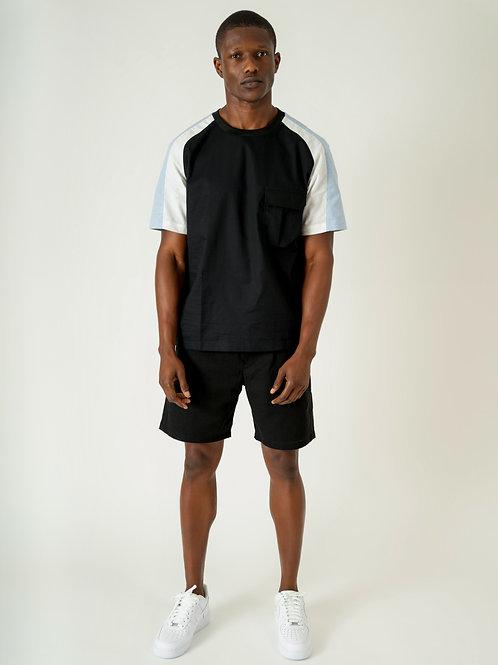 COLOR BLOCK SHIRT   BLACK + BLUE