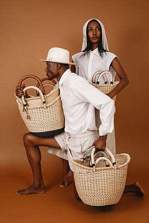 man and woman modeling baskets