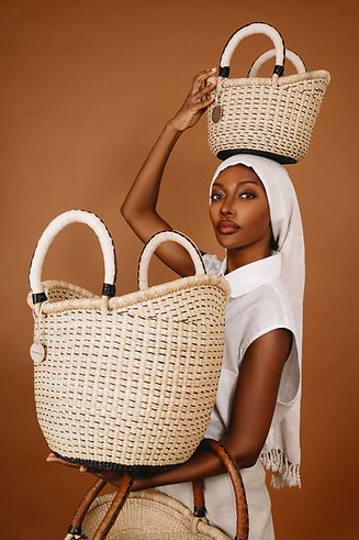 Natural African Storage straw basket made in ghana