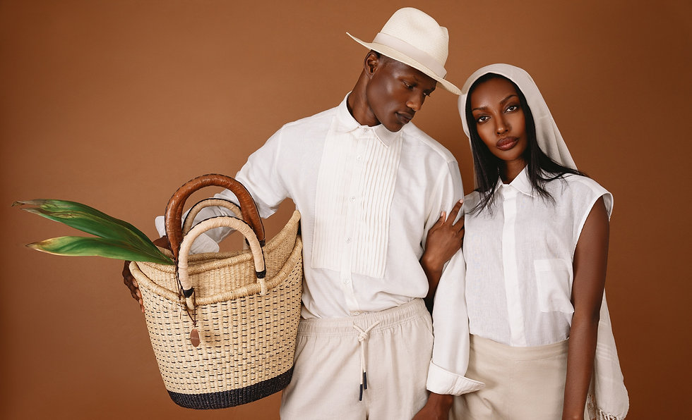Black Love African straw baskets with straw handles. Sustainable Homegoods