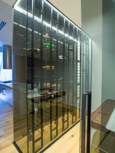 Frameless wine cellar (side view)