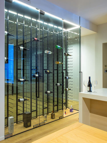 Front view of Frameless wine cellar