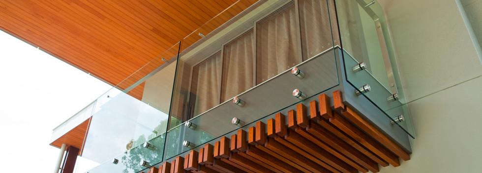 Custom pin fixed balustrade with offset handrail brisbane