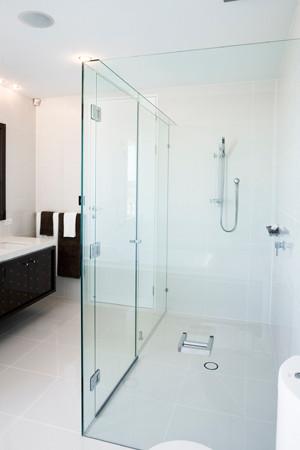 Frameless shower with toilet roll hoder on glass brisbane