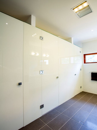 White privacy inline shower
