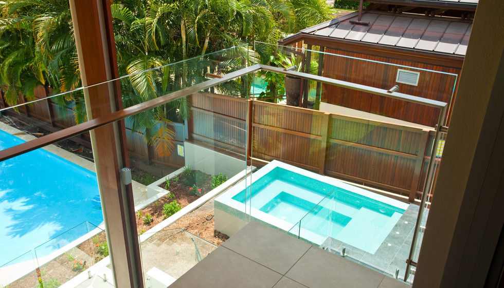 View of balustrade and pool fence