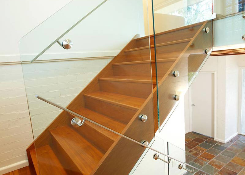 Pin fixed glass balustrade with offset handrail