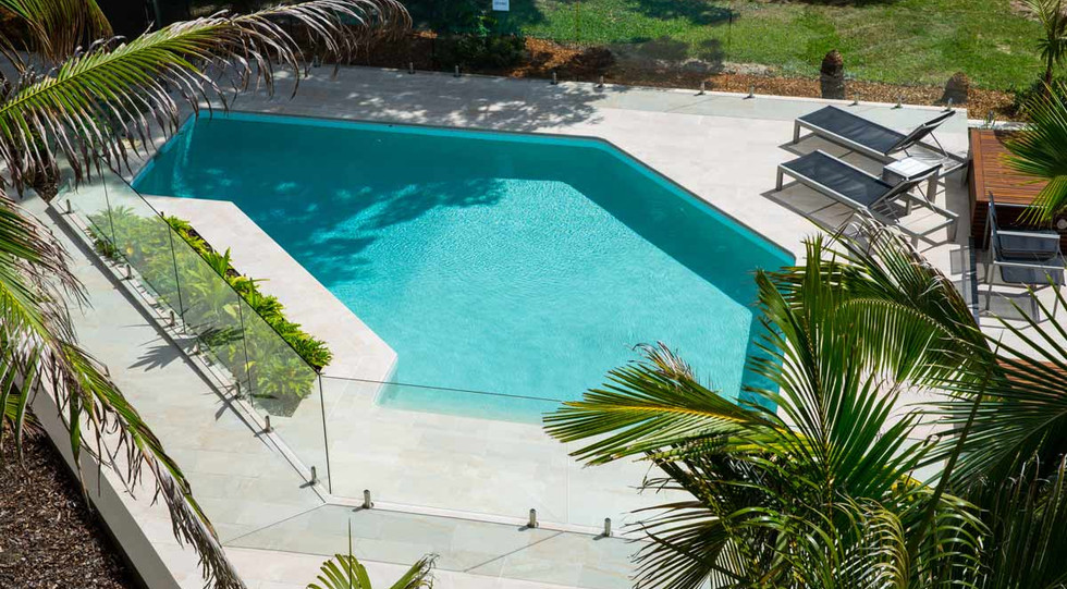 Top view of glass pool fence noosa