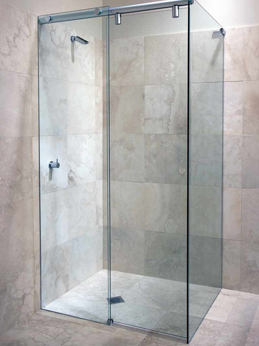Hydro slide system on a framless square showerscreen
