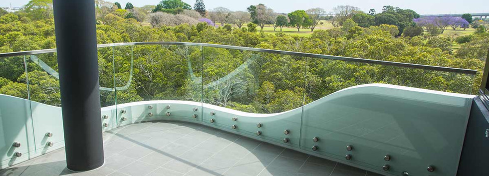 Pin fixed curved balustrade brisbane
