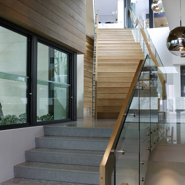 Glass staircase gallery