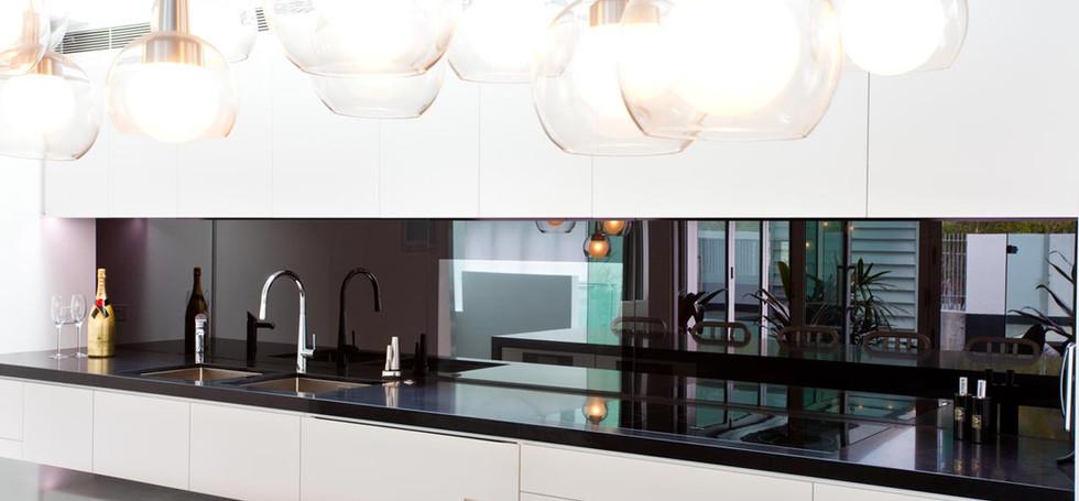 Black Splashback installed by euroglass