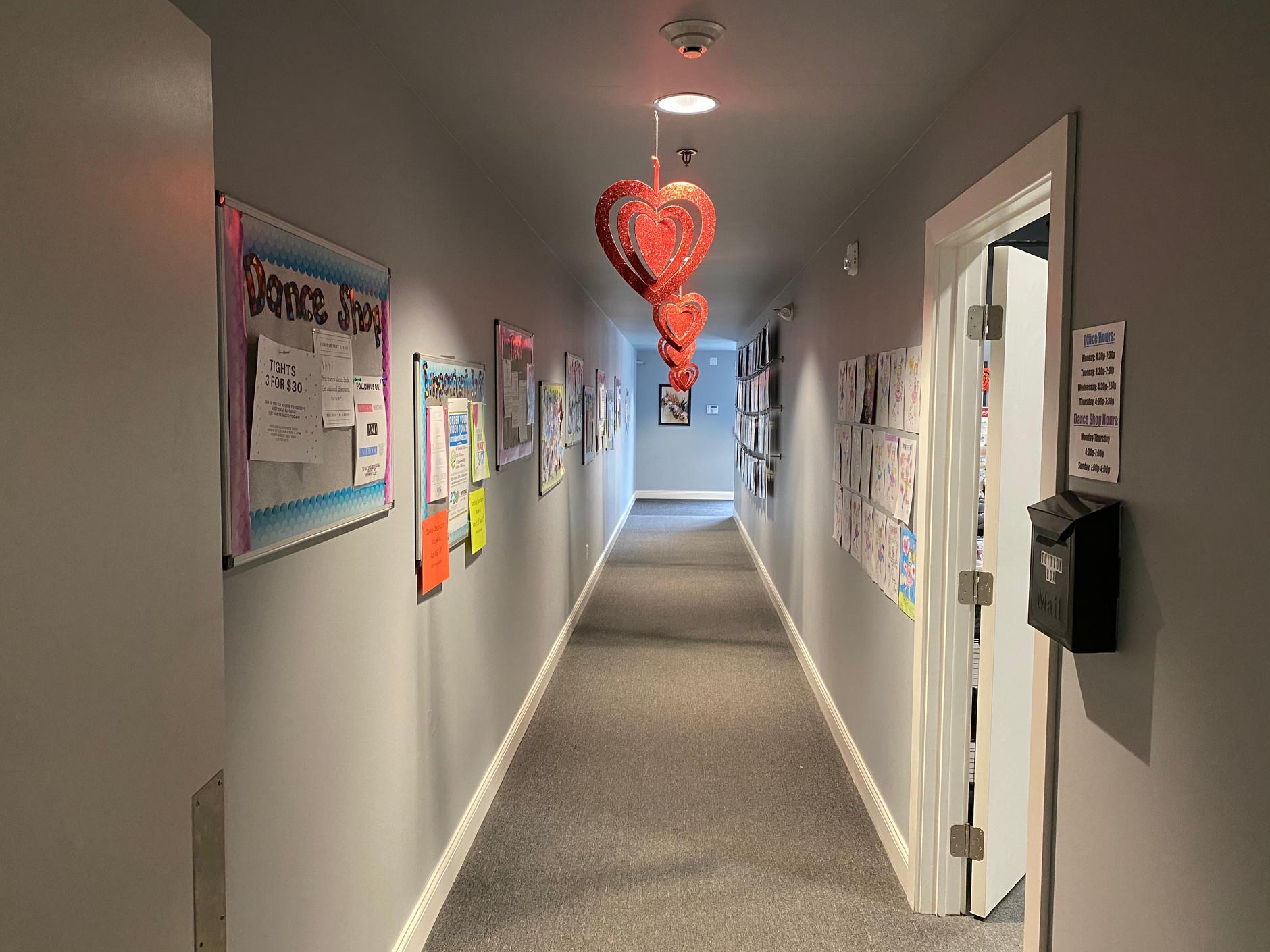 CESOD Entrance Hallway, Left -News Boards, Right - One Stop Elite Dance Shop