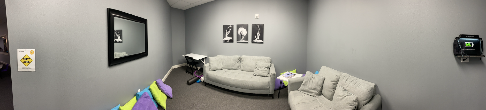 Student Lounge with Stretching/Strengthening Equipment and Charging Station