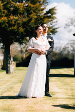 White wedding dress with soft sleeve detail