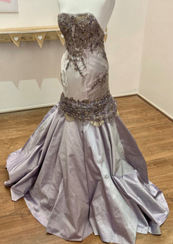 lilac strapless beaded mermaid dres