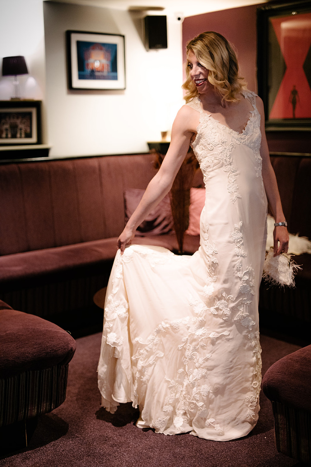 Hand made in the UK sustainable long backless wedding dress