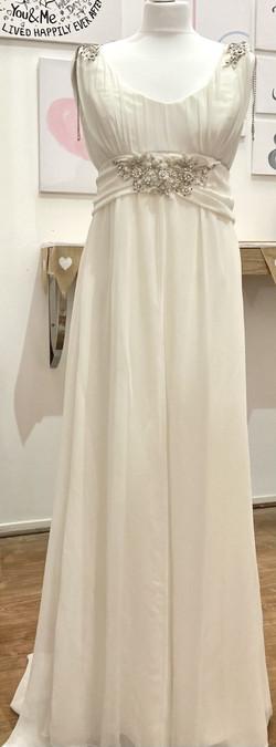 CC white beaded silk wedding dress