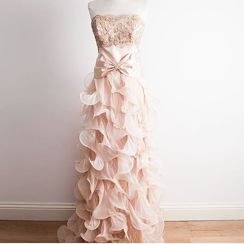 pink frill silk cocoa couture bridal gown wedding dress