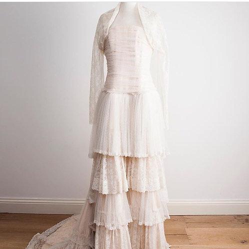 antique lace layered wedding and bridal dress with matching bolero