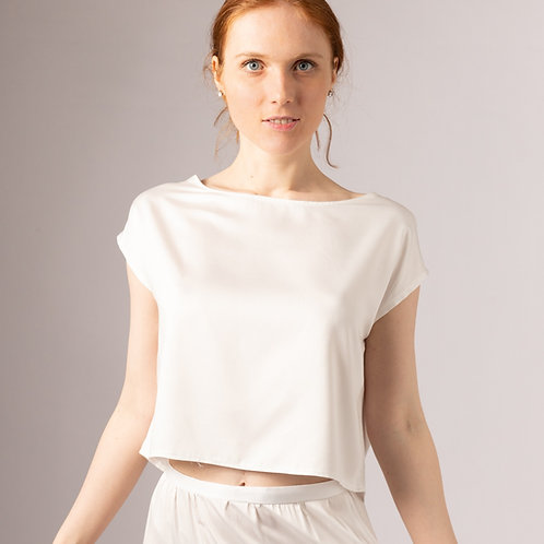 Vegan silk relaxed casual bridal top