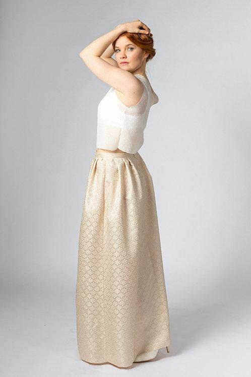 gold jacquard sustainable full length bridal skirt