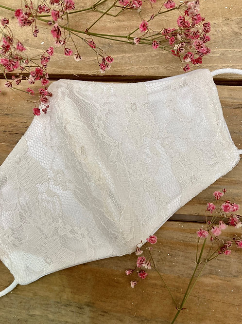 Ivory with lace face mask