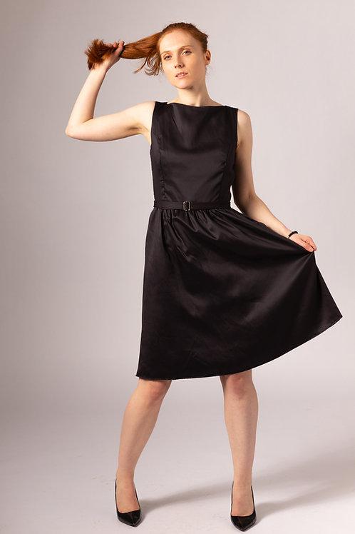 Audrey Hepburn inspired black bamboo vegan silk knee length bridal dress with pockets