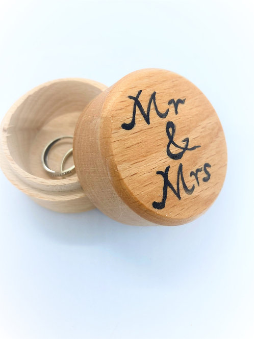 hand painted wooden wedding ring box