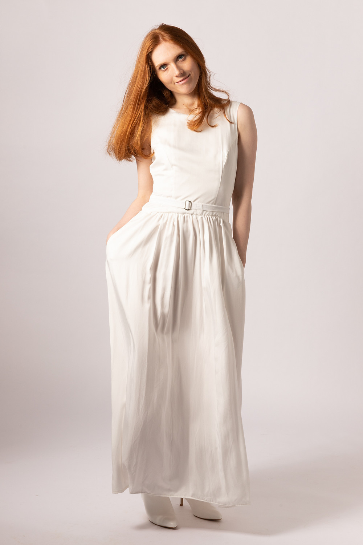 vegan bamboo silk long wedding dress with pockets