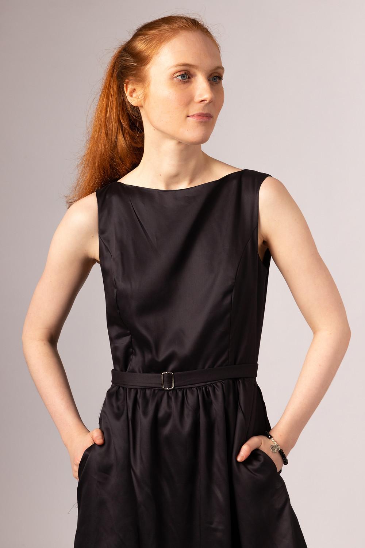 vegan silk black knee length dress with belt and pockets