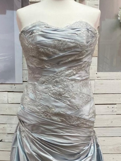ice blue silk strapless long wedding dress bridal gown with French lace