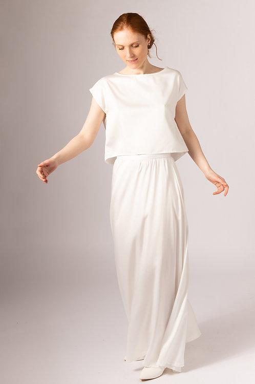 Hand made in the UK vegan silk long bridal skirt