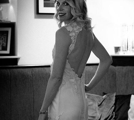 Backless ivory silk hollywood glamour style wedding dress
