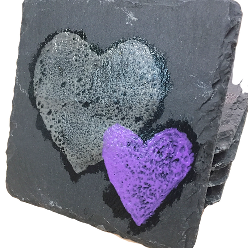 hand painted grey and purple heart slate coasters valentines