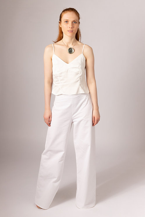 White wide leg ethical sustainable handmade in the UK bridal trousers organic cotton