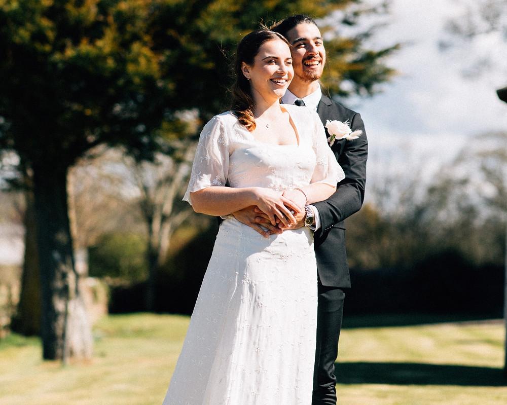 chiffon wedding dress with floaty sleeves