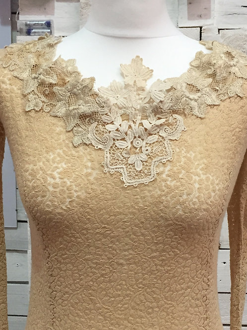 antique lace long fitted long sleeve occasion wedding dress