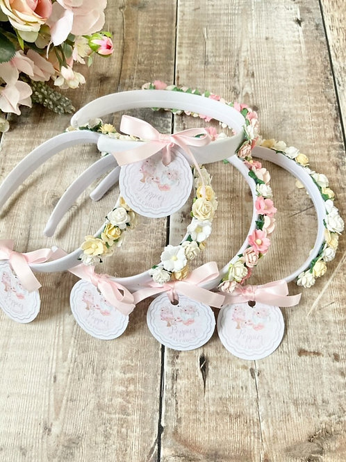 Flower girl head band pink and yellow