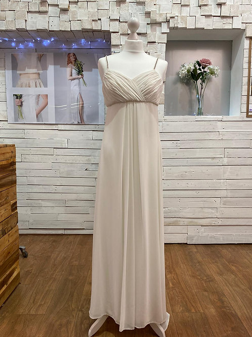 long simple white wedding dress & bridal gown with diamante straps