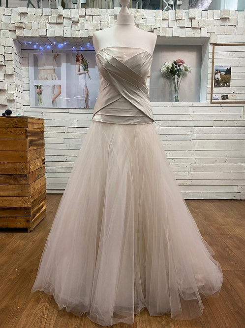 long full silk and tulle wedding bridal dress
