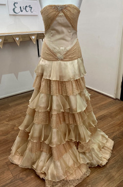 lace and satin non white wedding dr